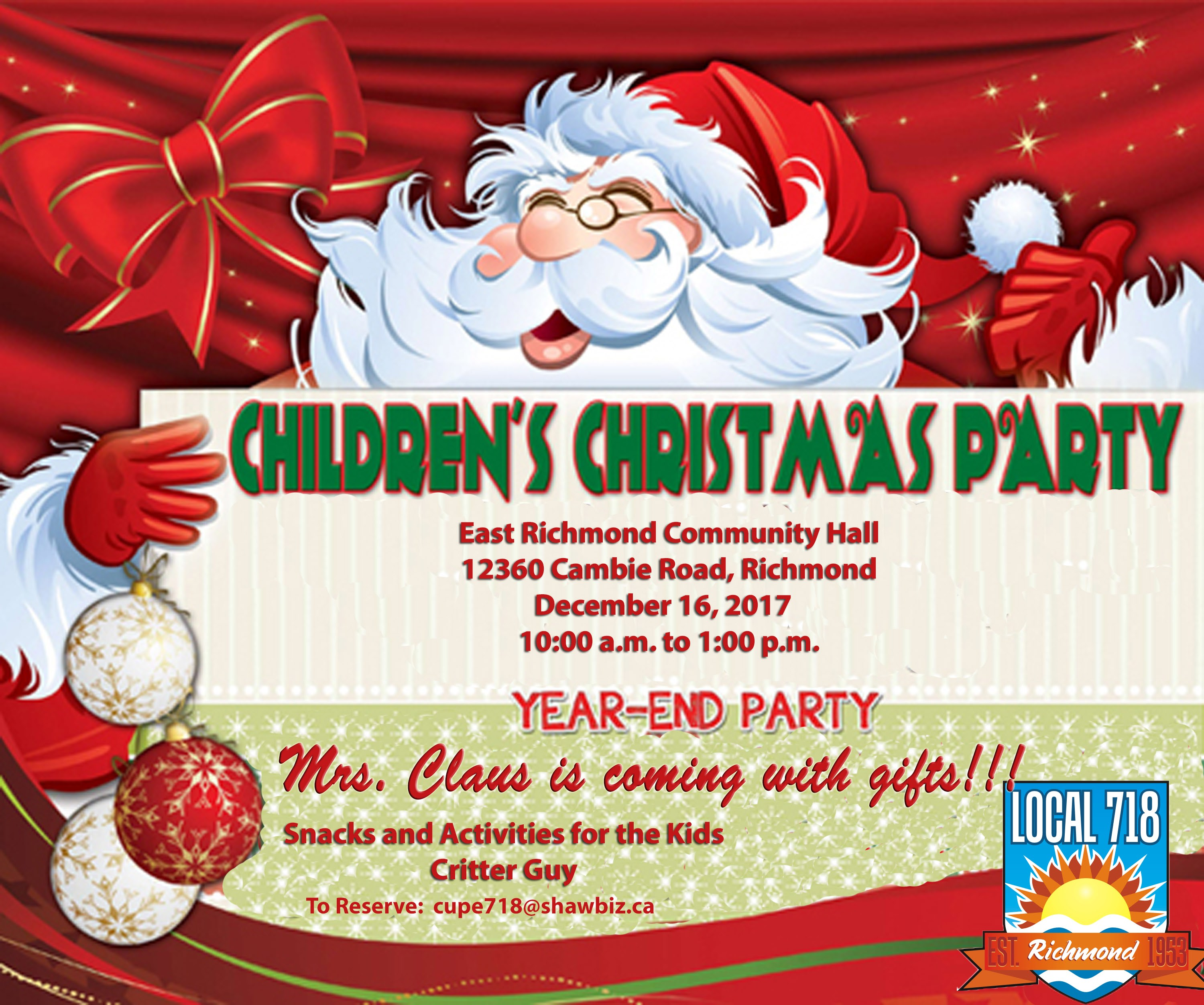 Children\'s Christmas Party | CUPE 718